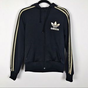 Adidas Black and Gold Stripe Hoodie Jacket Sz M